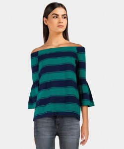 United Colors of Benetton Casual Full Sleeve Striped Women's Blue, Green Top