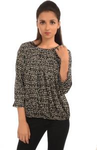 Harbinger Designs Casual 3/4th Sleeve Printed Women's Black Top