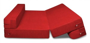 Style Crome Sofa Cum Bed 4X6 Feet Two Seater Sleeps & Comfortably Red Color Single Sofa Bed