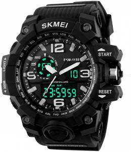 Skmei Black Analog & Digital Water Proof Sport Wrist Watch for Men and Boys Watch  - For Men