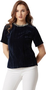 Miss Chase Party Short Sleeve Solid Women's Blue Top