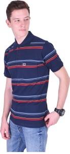 Distortion Crew Broad Stripes Men Polo Neck Dark Blue, Red, Light Blue T-Shirt