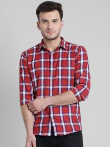 Being Fab Men Checkered Casual Red Shirt