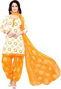 GoDot Crepe Printed Salwar Suit Dupatta Material Un stitched