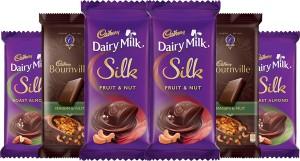 Cadbury chocolates combo, (2XSilk Roast Almond 55g, 2XSilk Fruit and Nut 137g & 2X Bournville Raisin Nut 80g) Bars
