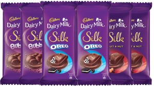 Cadbury Dairy Milk Silk Large Chocolates Combo, (2XSilk Oreo 130g & 2XSilk Bubbly 120g & 2X Silk Fruit and Nut 137g) Bars