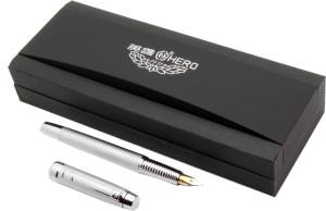 e086b4778505 Hero 581 Satin Silver Body With Chrome Trims Dual Tone Iridium Nib Fountain  Pen