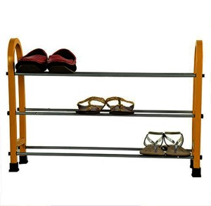 CELONA Multipurpose Modern 3 Layer Metal Shoe Rack Storage Cabinet, Yellow Color Metal Shoe Rack