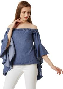 Miss Chase Casual Bell Sleeve Self Design Women Blue Top