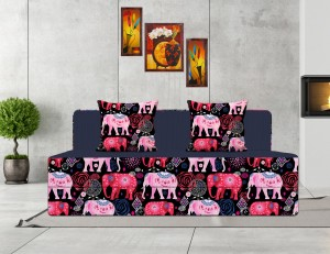 Style Crome 6x6 Feet Three Seater Printed Sofa Cums Bed With Two Cushion-Perfect for Guests Single Sofa Bed
