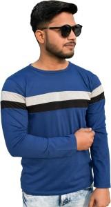 Wearza Striped Men Round Neck Blue T-Shirt