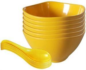 m s megaslim perfect Kitchenware 12 pcs Bowl set for Soup/Pudding/Vegetable/Serving Set Bowls and Spoon Plastic Bowl Set