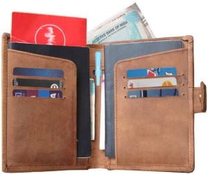 ABYS Tan 100% Hunter Leather Travel Organizer/Passport Holder for Men & Women