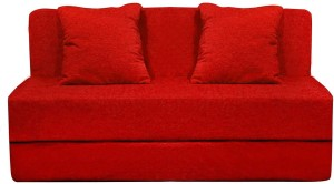 Style Crome 6x6 Feet Three Seater Sofa Cum Bed With Two Cushion With Filler Red Color Single Sofa Bed