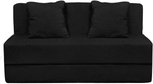 Style Crome 6x6 Feet Three Seater Sofa Cum Bed With Two Cushion With Filler Black Color Single Sofa Bed