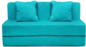 Aart Store Sofa Cum Bed 6x6 Feet Three Seater with Washable Cover and Two Pillows Sky Blue Color Single Sofa Bed