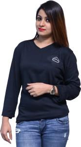 Chauhan Solid Women's V-neck Black T-Shirt