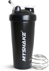 MyShake Black Classic Protein Shaker Bottle For Gym With Silicon Clip 600 ml Shaker