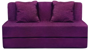 Aart Store Sofa Cum Bed 6x6 Feet Three Seater with Washable Cover and Two Pillows Magenta Color Single Sofa Bed