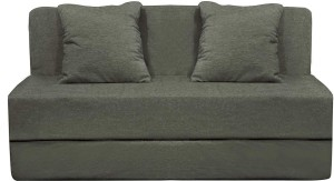 Style Crome 6x6 Feet Three Seater Sofa Cum Bed With Two Cushion With Filler Grey Color Single Sofa Bed