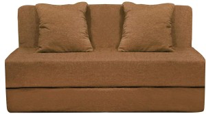 Style Crome 5x6 Feet Three Seater Sofa Cum Bed Washable Cover With Two Cushion With Filler Beige Color Single Sofa Bed