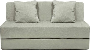 Aart Store Sofa Cum Bed 4x6 Feet Two Seater with Washable Cover and Two Pillows Silver Color Single Sofa Bed