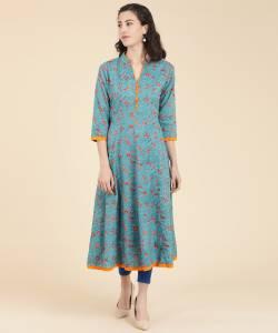 Mokshi Women's Floral Print Flared Kurta