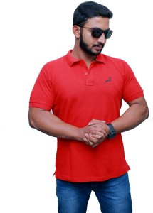 UOMO Solid Men's Polo Neck Red T-Shirt