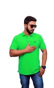 UOMO Solid Men's Polo Neck Green T-Shirt