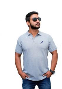 UOMO Solid Men's Polo Neck Grey T-Shirt