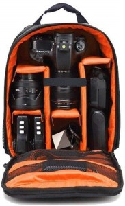 Smiledrive Waterproof DSLR Backpack Camera Bag, Lens Accessories Carry Case for Nikon, Canon, Olympus, Pentax & Others-Ideal for Professional Photographers (Orange)  Camera Bag