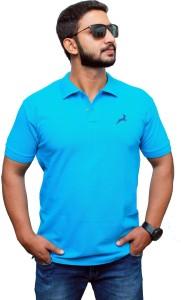 UOMO Solid Men's Polo Neck Blue T-Shirt
