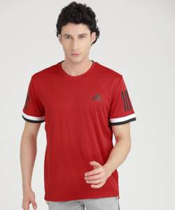 ADIDAS Solid Men Round or Crew Red T-Shirt