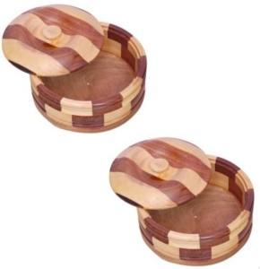 MartCrown Wooden chapati box casserole Pack of 2 Serve Casserole