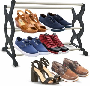 Thrive Plastic Collapsible Shoe Stand Black, 3 Shelves