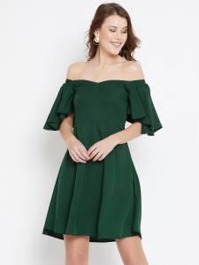 U&F Women Fit and Flare Dark Green Dress