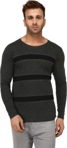 KAY S APPARELS Striped Men's Round Neck Black, Grey T-Shirt