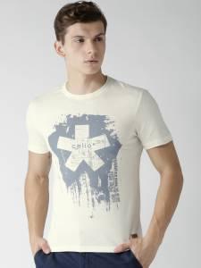 Celio Printed Men Round Neck White T-Shirt