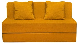 Aart Store Sofa Cum Bed 4x6 Feet Two Seater with Washable Cover and Two Pillows Yellow Color Single Sofa Bed
