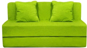 Aart Store Sofa Cum Bed 4x6 Feet Two Seater with Washable Cover and Two Pillows Green Color Single Sofa Bed