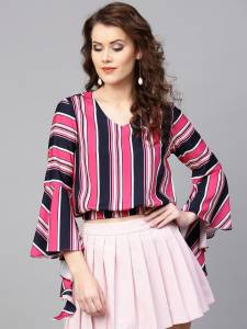 Zima Leto Casual Bell Sleeve Striped Women Multicolor Top