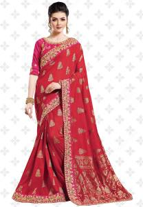 Patang International Embellished, Woven, Ombre, Embroidered Bollywood Silk Saree
