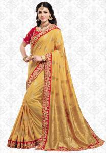 Patang International Embellished, Woven, Embroidered Bollywood Silk Saree