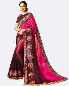 Patang International Embellished, Embroidered Fashion Silk Saree