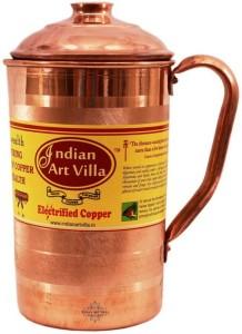 Indian Art Villa Copper Jug Pitcher 1300 ML - Storage Serving Water Benefit Yoga Ayurveda Water Jug