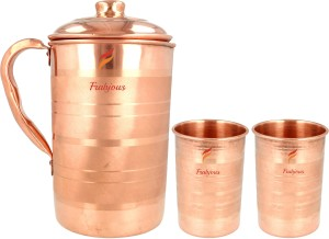 Frabjous 100% Pure Handmade copper Jug Glass Set