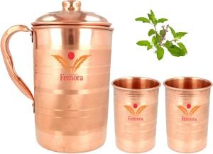 Femora Antioxidant Copper 1.4 Litre Jug with Organic Tulsi Leaves (20 gms),Two 300 ml Glasses Jug Glass Set