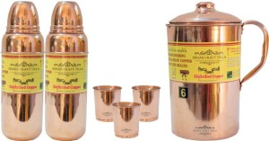 Indian Craft Villa Handmade Best Quality 100% Pure Copper 1 Jug Pitcher Capacity 2.1 Liter 3 Glass Cup Goblet With Lid Capacity 300 ML 2 Water Bottle Capacity 700 ML for Storage Water Good Health Benefits Yoga, Ayurveda Home Decorate Kitchen Dinning Ware Travel Bottle Gift Item Water Jug Set