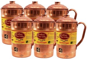 Indian Art Villa Copper Set of 6 Jug Pitcher Water Jug Set