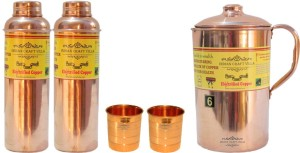 Indian Craft Villa Handmade Best Quality 100% Pure Copper 1 Jug Pitcher Capacity 2.1 Liter 2 Glass Cup Goblet Capacity 300 ML 2 Water Bottle Capacity 700 ML for Storage Water Good Health Benefits Yoga, Ayurveda Home Decorate Kitchen Dinning Ware Travel Bottle Gift Item Combo Set Water Jug Set